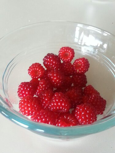 Dish of Japanese wineberries