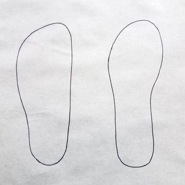 Tracings Compared (Foot, left; Sandal, right)