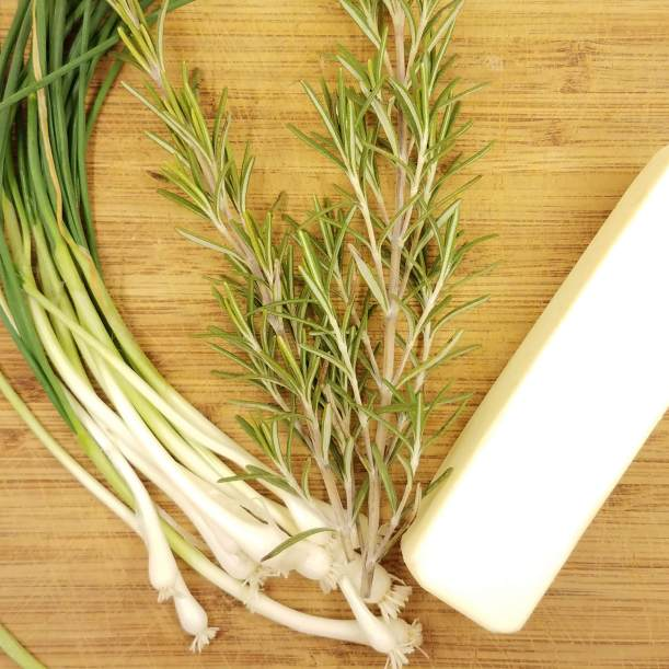 Field garlic, rosemary and butter for garlic herb butter
