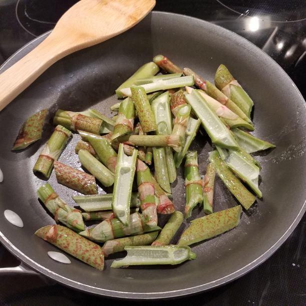 Sauteing Japanese knotweed in butter