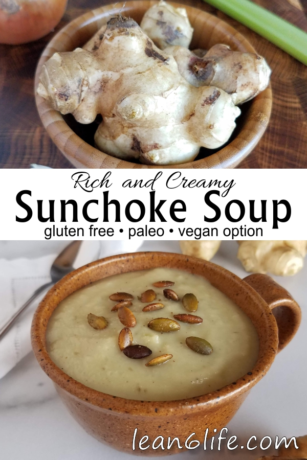 Rich and Creamy Sunchoke Soup from Lean6Life.com - gluten free, paleo, and vegan-friendly!