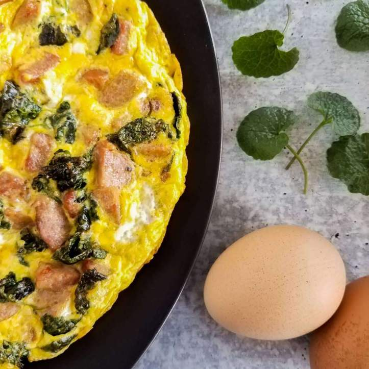 This frittata features hot Italian sausage paired with garlic mustard