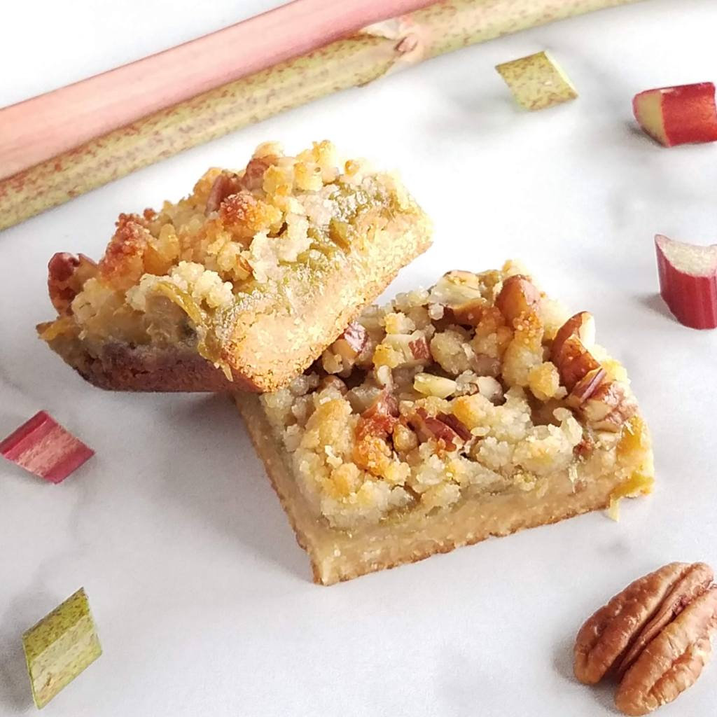 Knotweed and rhubarb combine to make a perfect sauce for these crumb bars