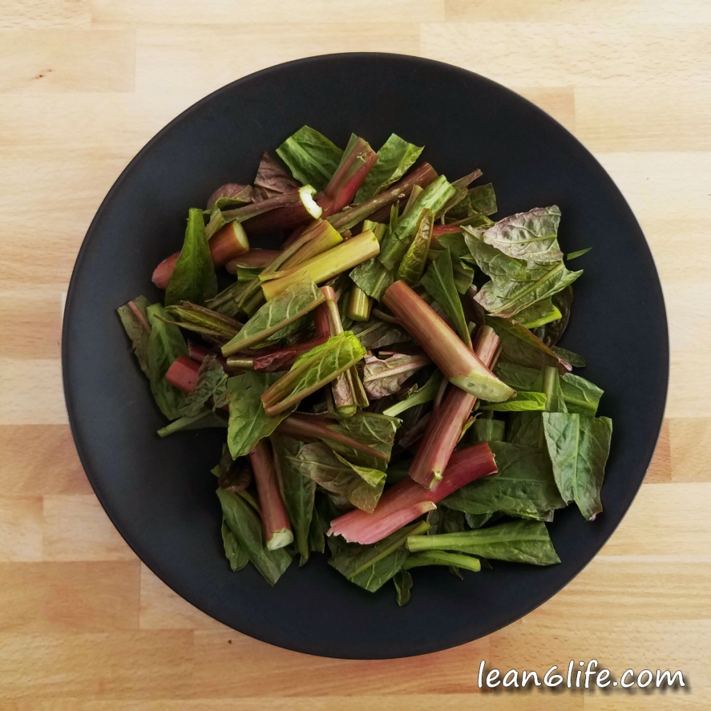 Poke before boiling - note the large amount of pink in leaves and stems