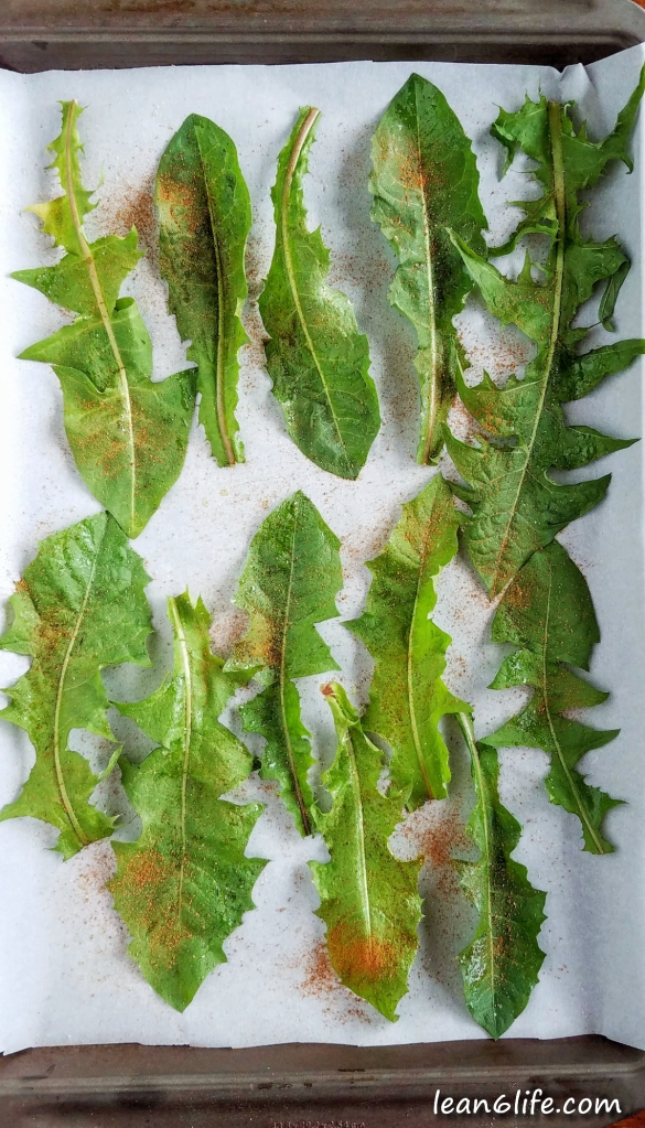 Lightly oiled and seasoned dandelion leaves