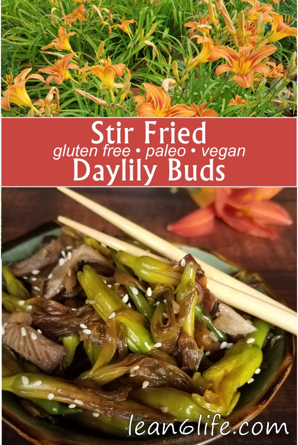 Stir Fried Daylily Buds Recipe from Lean6Life.com. A simple and healthy recipe to enjoy daylily flower buds - vegan, gluten free and paleo!