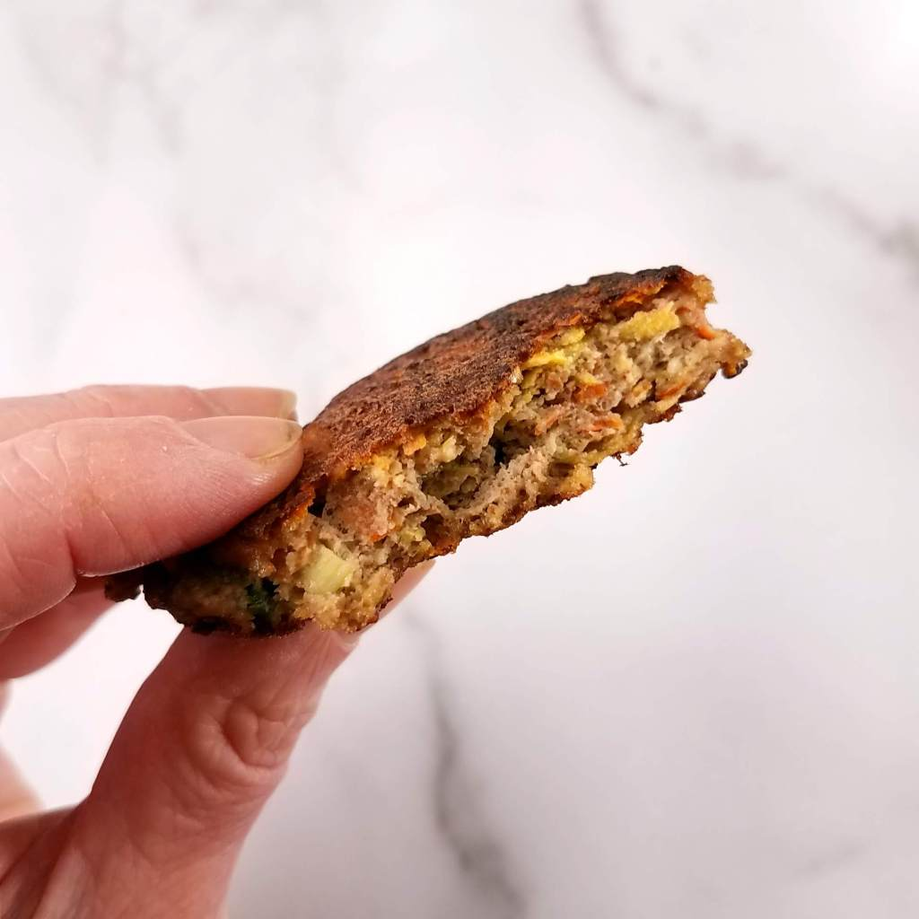 A cross section of  a black walnut veggie fritter because that gave me an excuse to eat half while photographing it