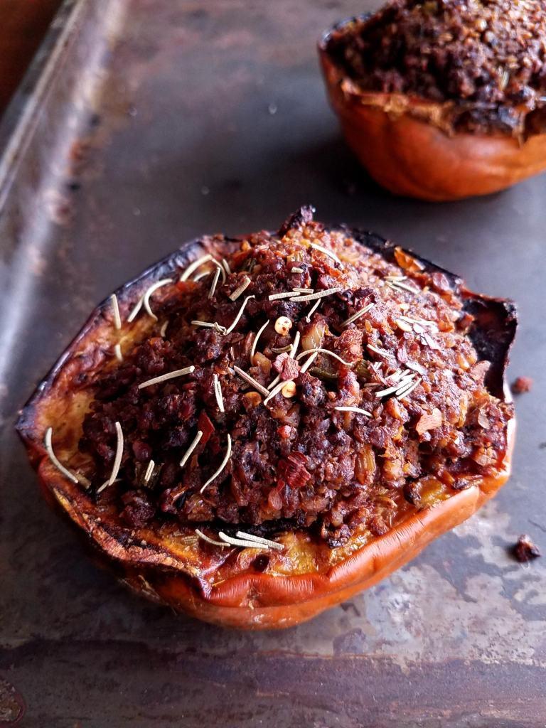 Black walnut stuffed acorn squash