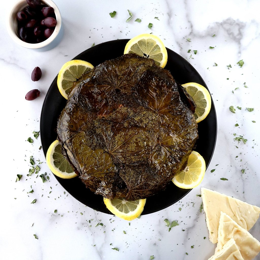 Rice Pie Baked in Grape Leaves